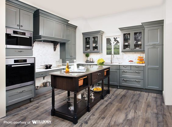 Maple cabinets floors and hardwood floors on pinterest for Charcoal gray kitchen cabinets