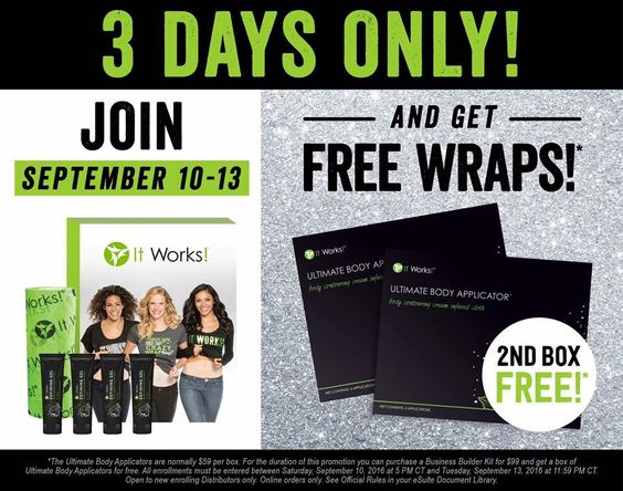 FREE WRAPS!!! 😍😍😍  Today through September 13, I'm offering YOU an extra box of wraps in your starter kit!🙌🏽🙌🏽   That means not only can you make your initial investment back, you can make a $100 profit off of your starter kit!   I have 4 spots for BOGO kits ! 💁🏼💁🏼💁🏼  #fit  #fitness #health #gethealthy #income #free #opportunity #itworks #money