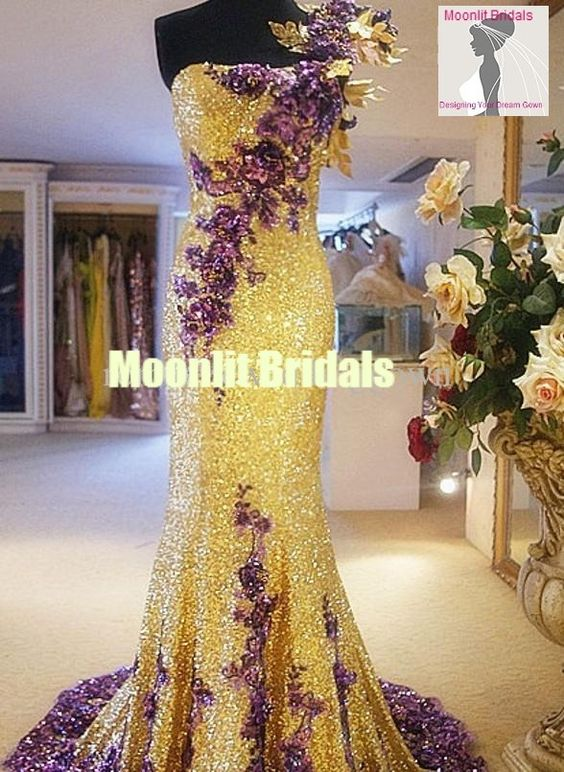 Royal purple and gold wedding stunning purple and gold for Gold beaded wedding dress