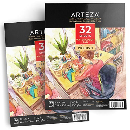 Arteza Watercolor Paper 9x12 Inch Pack Of 2 64 Sheets 140lb