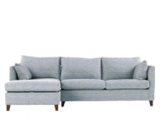 Bari, canapé-lit d'angle gauche avec compartiment de rangement, matelas à mémoire de forme, bleu gris