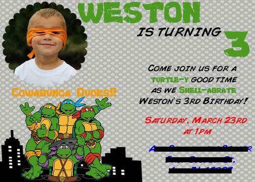 Ninja Turtles Invitations TMNT Teenage Mutant Ninja Turtles – Ninja Turtle Birthday Invitations Printable
