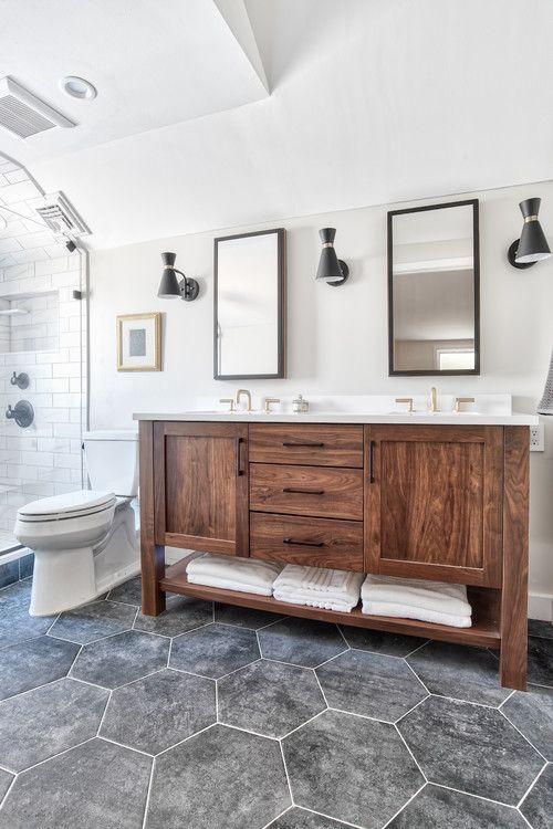 Modern Bathroom New York Walnut Vanity With Black Tiled Floors Masterbath Black Floor Tiles Bathroom Redesign Modern Bathroom