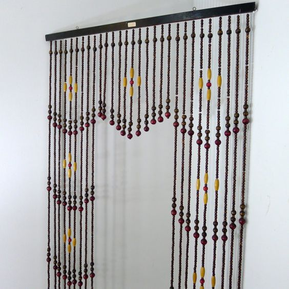 Curtains Ideas bead curtain room divider : Vintage Wooden Bead Curtain, Beaded Curtain, Room Divider, Hanging ...