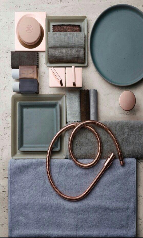 Geweldig kleuren palet; Koper, oud roze, en industrieel blauw
