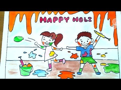 How To Draw Kids Celebrating Holi Festival Drawing Tutorial For Kids Youtube Drawing For Kids Drawing Lessons For Kids Drawing Tutorials For Kids