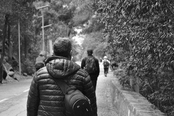 Caminantes  Black and white  Cubre cerro San Cristóbal, Santiago de Chile