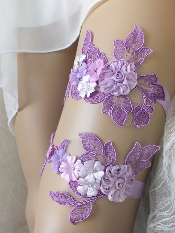 Unique  purple lilac soft pink  wedding garter set  lace  garter , Wedding Garter,  garters, bridal lace Garter, Free Ship: