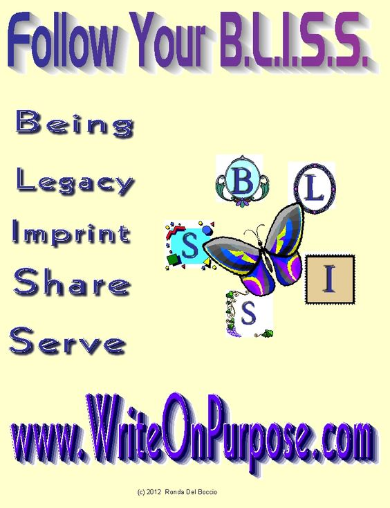 This is the BLISS Butterfly - Follow your B.L.I.S.S to author success:  Being  Legacy  Imprint  Share  Serve  http://WriteOnPurpose.com/challenge