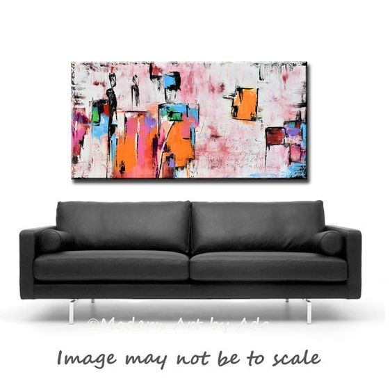 Große abstrakte PINK Art Original 60 x 30 abstrakte Malerei Orange minimalistischen Kunst, Original Pink Wash-Painting on Canvas Contemporary Wall Art