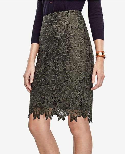 Primary Image of Petite Floral Lace Pencil Skirt
