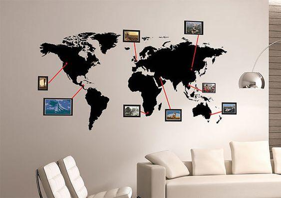 KAART van de wereld foto muur Sticker reizen foto door stickerlove2