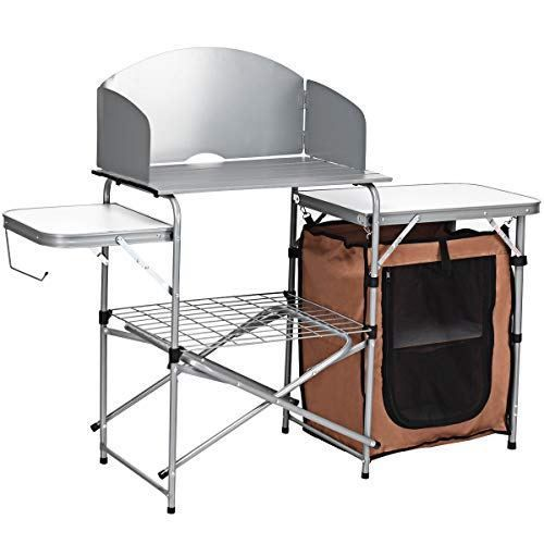 Giantex Folding Grill Table With Storage Lower Shelf Sale At Outdoorfull Com Grill Table Bbq Table Camping Table