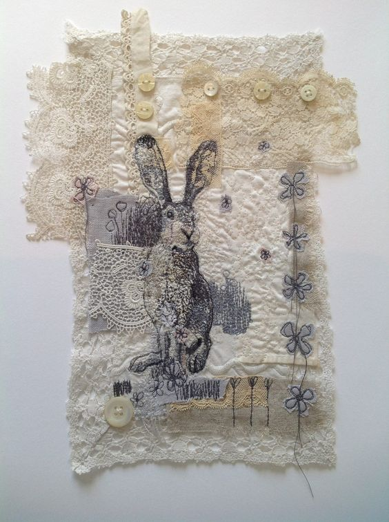 The Makings of Mrs. Bertimus - lace & fabric collage...some seriously good free motion stitching!