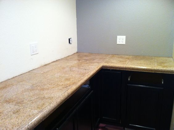 Granite tile with sink rail edge priced about half of for Laminate countertops cost per linear foot