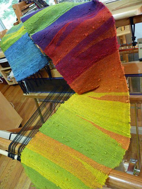Lovely rainbow saori weaving