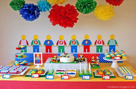 """decorations, water bottles, pin the """"brick"""" on the wall, amazing cake, invitation, color a figure, cookies, candy bars, favors."""