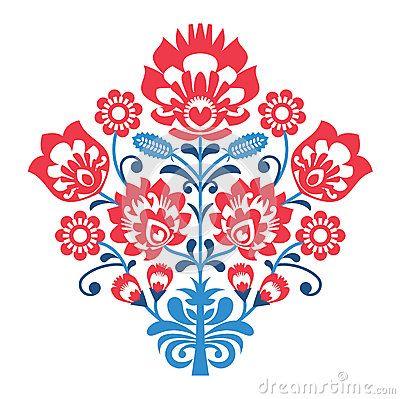 Modèle polonais d art populaire avec des fleurs - lowickie wzory, wycinanka
