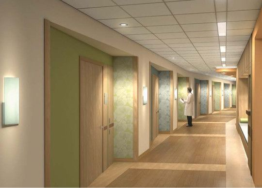 Hospital Corridor Lighting Design: Nurse Servers Containing Frequently Used Patient Supplies