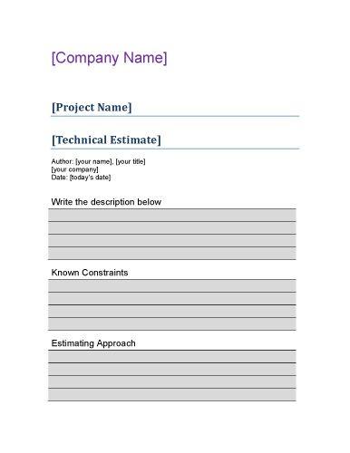 Technical project estimate Estimate Template Word Pinterest - estimate proposal template