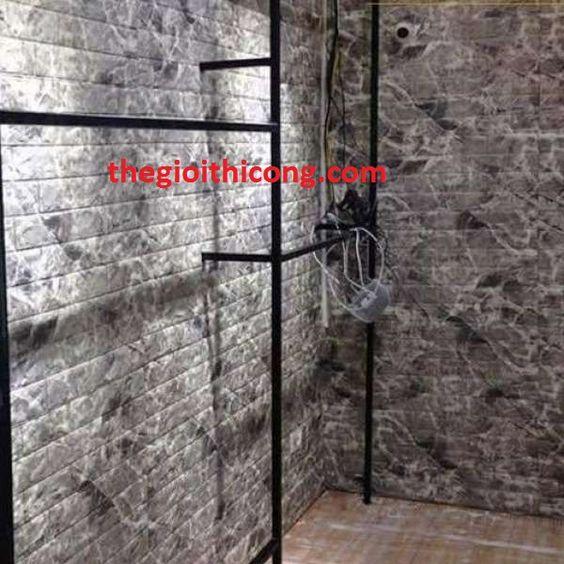 Xốp dán tường giả đá màu đen
