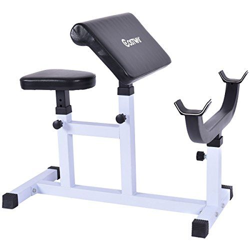 Goplus Preacher Curl Weight Bench Seated Arm Isolated Barbell Dumbbell Biceps Station Want To Know More Weight Benches No Equipment Workout Preacher Curls