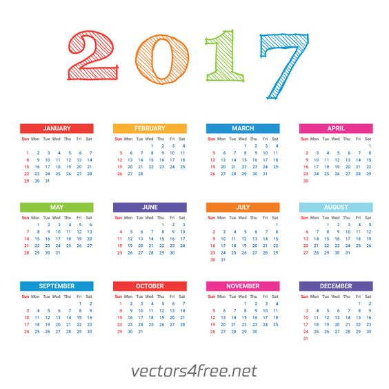 Get free 2017 Calendar template vector, Week starts from Sunday ...