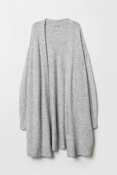 H&M+ Long Cardigan - Light gray melange - Ladies | H&M US 4