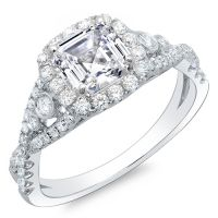 This diamond engagement has a beautiful 1.19 Ct. Asscher cut diamond with H color grade and VS2 clarity. Around the center stone and lining the cross over shank are pave set Round cut diamonds. Additional Round cut diamonds on each side of the center stone are bezel set giving the ring a unique look. These 0.60 Ct. side diamonds have G-H color grade and VS1-VS2 clarity. This lovely setting is available in 14K white or yellow gold, 18K white or yellow gold or platinum.