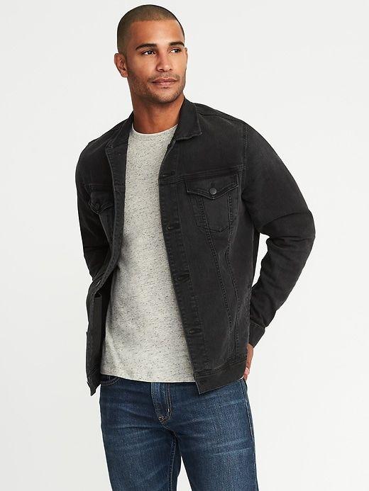 no sale tax on feet shots of wholesale price Built-In Flex Black Denim Jacket for Men | passion joeject ...