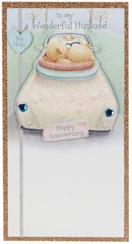 Hallmark Forever Friends Anniversary Card For Husband Big Hugs Medium Slim Amazon Co Friend Anniversary Anniversary Cards For Husband Forever Friends Bear