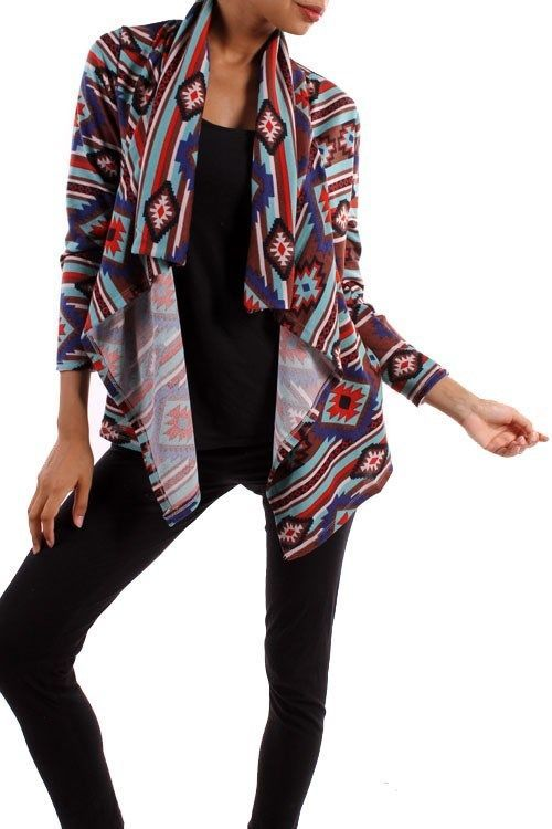 AZTEC TRIBAL GEO PRINT LONG SLEEVE OPEN FRONT SOFT KNIT CARDIGAN SWEATER S M L #AllAboutTheGirl #Cardigan #Any