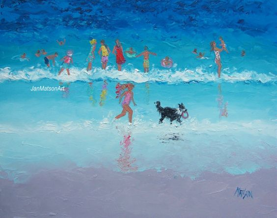 Beach Painting children and dog beach cottage by JanMatsonArt,