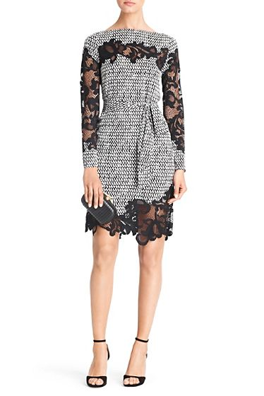 Diane Von Furstenberg Ernestina Printed Lace Detail Dress In Tweed Dash Black #DVF