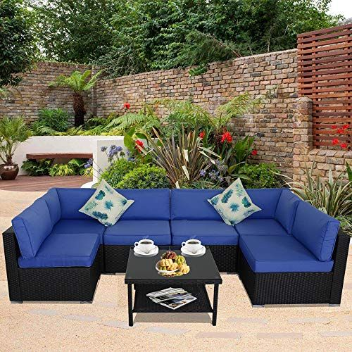 Jetime Patio Sofa Outdoor Rattan Couch Wicker 7pcs Sectional