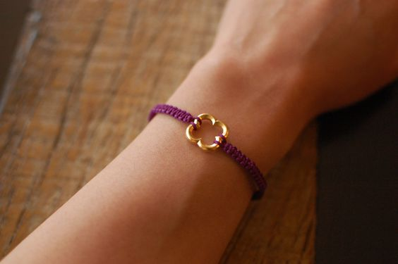 DIY chinese knotted cord bracelet. Would be cute with a metal hexagon cut.