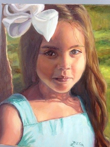 """Mia at 6"" - by Linda D'Elia.... ~Oil"