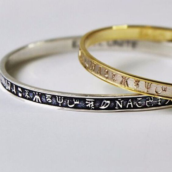 UNITE Collection Alphabet Bangle Bracelets // Oxidized Sterling Silver & Gold Brass Bangle Bracelets // Style Individually or Stacked for a Unique Look // Shop exclusively at https://www.exohdesigns.com/collections/unite-collection/products/unite-alphabet-bangle-silver?variant=11218887681
