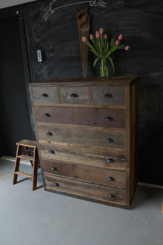 Repurposed pallet dresser projects to try pinterest - Distressed wood bedroom furniture ...