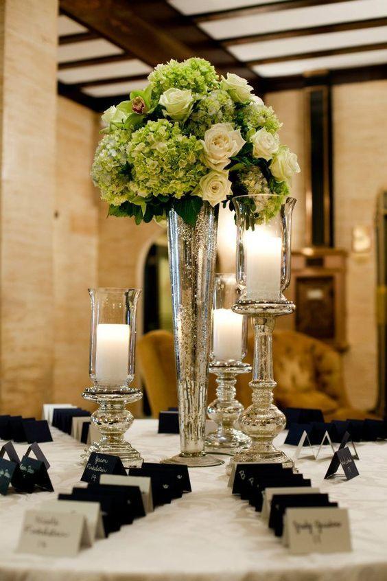 Mercury Silver Tall Vase Wedding Centerpiece 24 Pilsner Trumpet Cone Vase