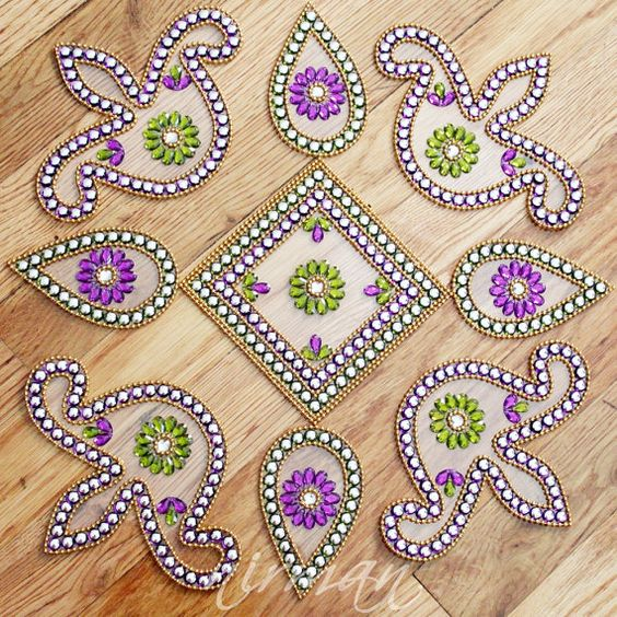 Kundan rangoli floor art set of 9 pieces wedding red for Floor rangoli design