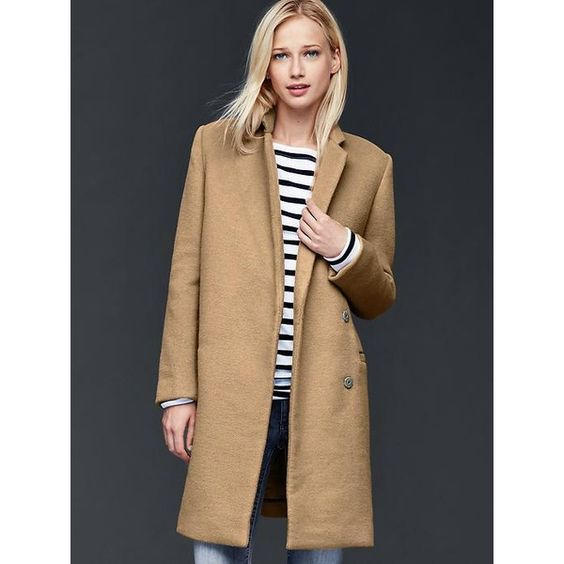 Gap Women Soft Wool Coat ($198) ❤ liked on Polyvore featuring