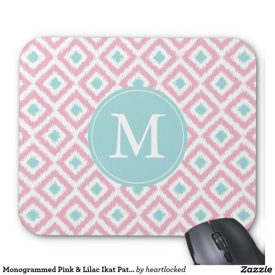 Monogrammed Pink & Lilac Ikat Pattern Mouse Pad