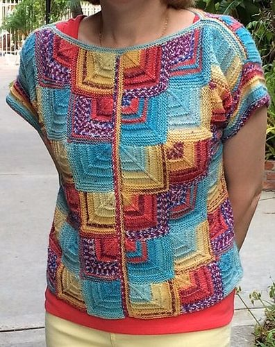 This is a loose fitting slipover that is fun and addicting to knit. The top consists of modular squares built upon each other to create panels. The front and back panels, shoulder and sides are joined with 3 - needle BOs. There are two base sizes with instructions for customizing for a variety of sizes from small to 3X.