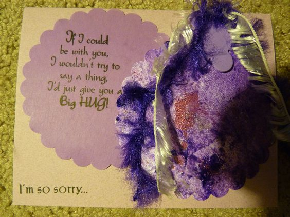 Gelli plate paper sorry for difficult times card