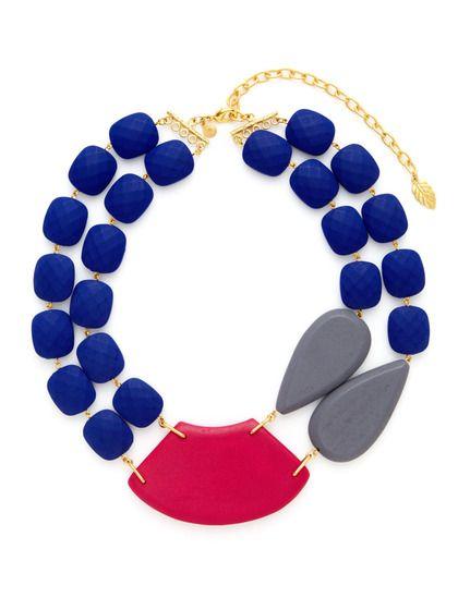 Blue, Pink, & Grey Multi Shape Double Strand Necklace by David Aubrey on Gilt.com