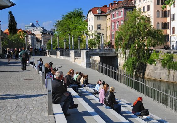 Lively Ljubljana, Slovenia. The renovated Breg embankment area by the Ljubljanica river has become a vibrant new venue for some of the street markets traditionally held in the old city centre of Ljubljana.