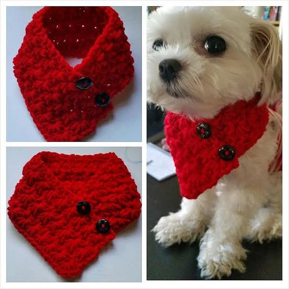 Small Breed Dogs Crocheted scarf Red Colors fits most S or