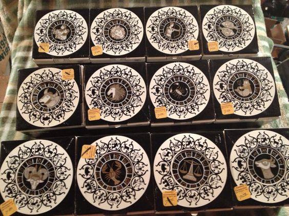 COMPLETE SET OF 12 rare and beautiful 1970s Zodiac trinket boxes Raija Uosikkinen (b. 1923 in Holland. d. 2004 in Helsinki) Arabia Finland
