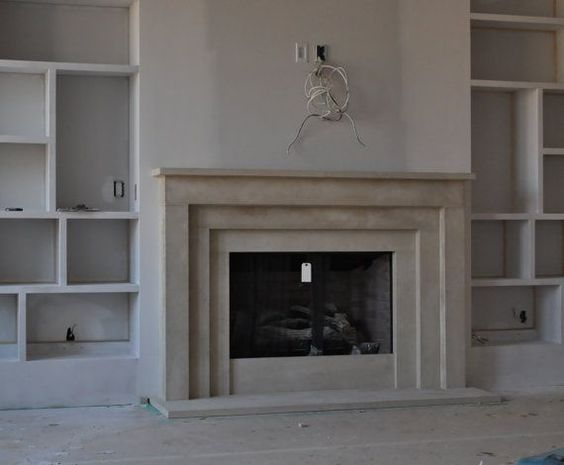 Cast Stone Fireplace mantel Contemporary Modern Traditional style custom made Limestone Mantel